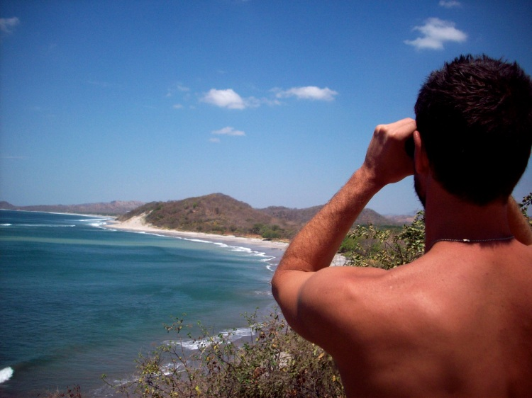 Jamie checking the surf at Popoyo from Magnific Rock